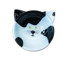 КерамикАрт миска керамическая для кошек Мордочка кошки 120 мл, черно - белая