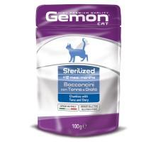 Паучи для кошек Gemon (Гемон) Sterilised для стерилизованных кошек кусочки тунца с рыбой дори 100 г