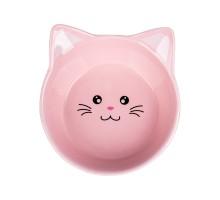 КерамикАрт миска керамическая для кошек Мордочка кошки 200 мл, розовый