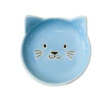 КерамикАрт блюдце керамическое Мордочка кошки 80 мл, голубая