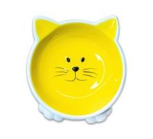 КерамикАрт миска керамическая для кошек Мордочка кошки на ножках 100 мл, желтая