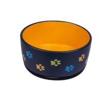 КерамикАрт миска керамическая для собак 1000 мл черная с оранжевым