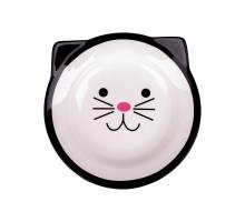 КерамикАрт миска керамическая для кошек 150 мл Мордочка кошки черная