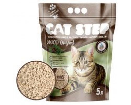 Наполнитель для кошачьих туалетов Cat Step Wood Original 5L, растительный (древесный) комкующийся