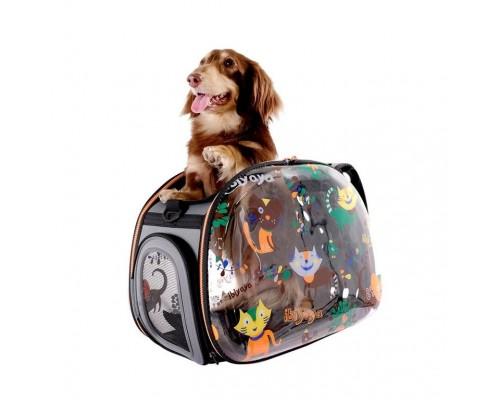 Сумка-переноска IBIYAYA CATS&DOGS для собак и кошек до 6кг, прозрачная