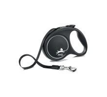 flexi рулетка Black Design M (до 25 кг) 5 м лента черный/серебро