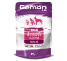 Паучи для собак Gemon Dog Pouch кусочки говядины с ветчиной 100 г