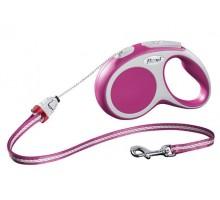 Рулетка для собак Flexi VARIO S (до 12 кг) 5 м трос розовая
