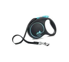 flexi рулетка Black Design M (до 25 кг) 5 м лента черный/синий