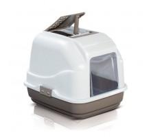 Закрытый туалет для кошек Imac (Имак) EASY CAT, бело-коричневый, 50х40х40см