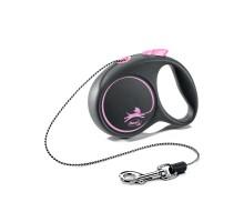 flexi рулетка Black Design XS (до 8 кг) 3 м трос черный/розовый
