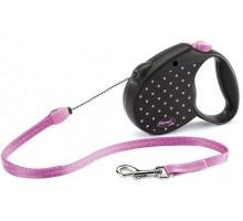 Рулетка для собак Flexi COLOR S 5м/ до 12 кг розовая, трос