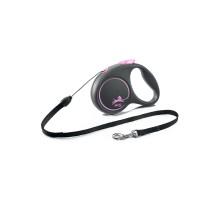 flexi рулетка Black Design S (до 12 кг) 5 м трос черный/розовый
