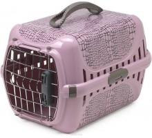 Переноска Moderna Wildlife 49x32x30h см с металлической дверцей, нежно-розовая + пеленки Доброзверики 60*60см 5штук