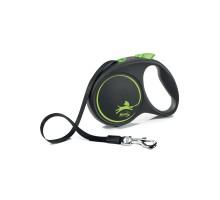 flexi рулетка Black Design L (до 50 кг) 5 м лента черный/зеленый