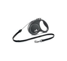 flexi рулетка Black Design S (до 12 кг) 5 м трос черный/серебро