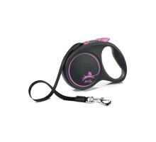 flexi рулетка Black Design L (до 50 кг) 5 м лента черный/розовый