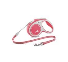 flexi рулетка NEW LINE Comfort М (до 20 кг) трос 5 м серый/красный