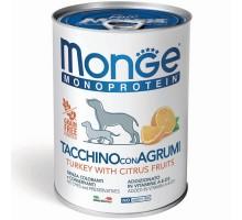 Monge Dog Monoprotein Fruits консервы для собак паштет из индейки с рисом и цитрусовыми 400г