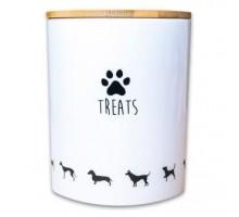 КерамикАрт бокс керамический для хранения лакомств для собак 1300 мл, белый