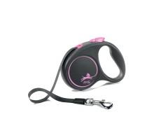flexi рулетка Black Design S (до 15 кг) 5 м лента черный/розовый