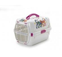 Переноска Moderna Friends Forever 49x32x30h см с пластиковой дверцей, ярко-розовый + пеленки Доброзверики 60*60см 5штук