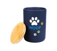КерамикАрт бокс керамический для хранения корма для собак WOOF 3800 мл, черный