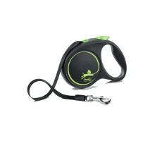 flexi рулетка Black Design M (до 25 кг) 5 м лента черный/зеленый
