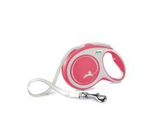 flexi рулетка NEW LINE Comfort L (до 50 кг) лента 8 м серый/красный