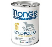 Паштет для собак MONGE DOG MONOPROTEICO SOLO, из курицы - 400 грамм * 24 штуки