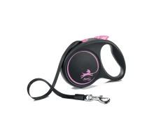flexi рулетка Black Design M (до 25 кг) 5 м лента черный/розовый