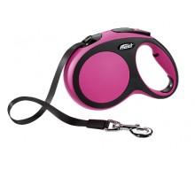 Рулетка для собак Flexi New Comfort L (до 50 кг) лента 8 м черный/розовый