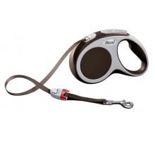 Рулетка для собак Flexi VARIO S (до 15 кг) 5 м лента коричневая